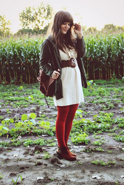 cream dress & scarlet tights via Selective Potential