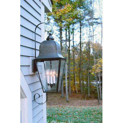 Northeast Lantern Imperial 3 Light Outdoor Wall Lantern Shade Type: Clear Seedy, Finish: Dark Antique Brass