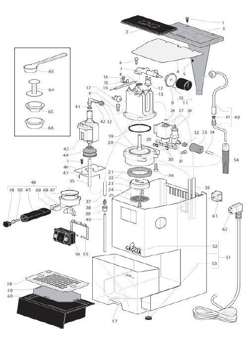 Coffee Maker Circuit Diagram : Gaggia Classic - Parts Diagram Part Diagrams Pinterest Classic, Coffee and Espresso