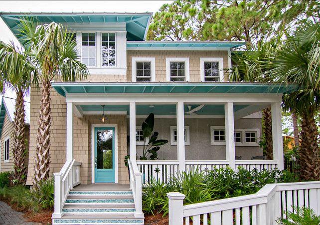 Beach House Design Ideas. Great Beach house and coastal interiors. Front Door is Reflecting Pool SW6486. #BeachHouse #CoastalHomes