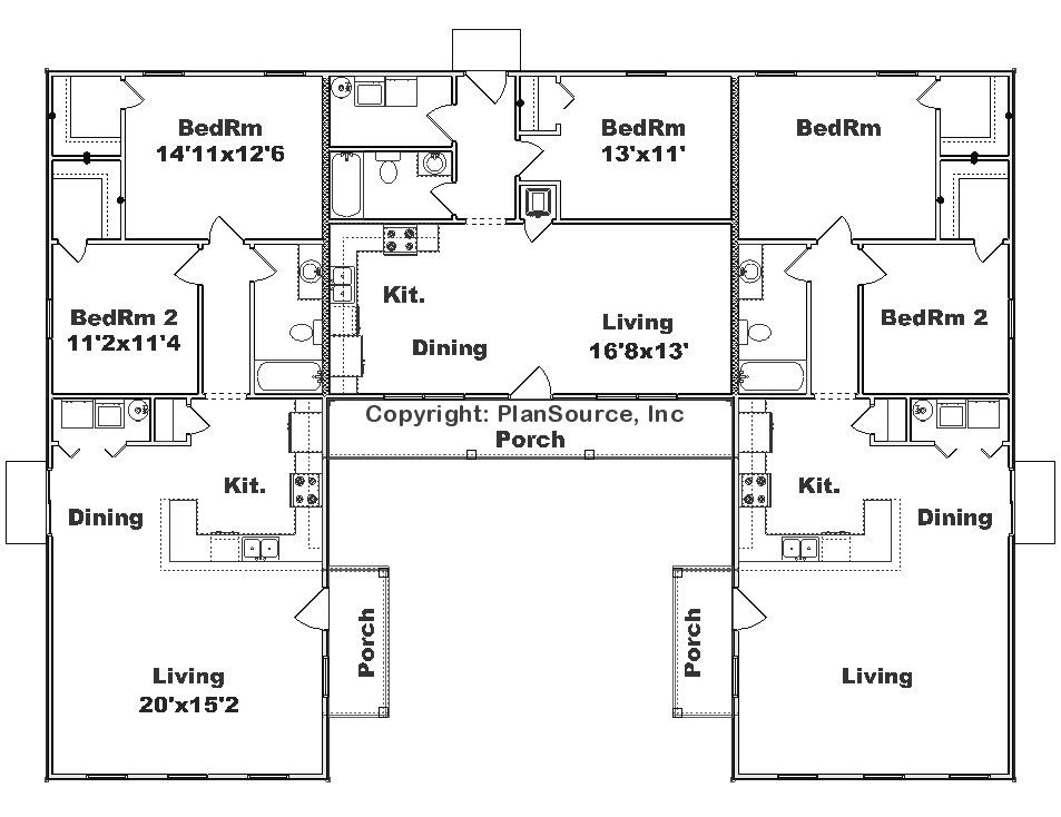 Triplex J0908 T Plansource Inc Courtyard House Plans U Shaped House Plans U Shaped Houses