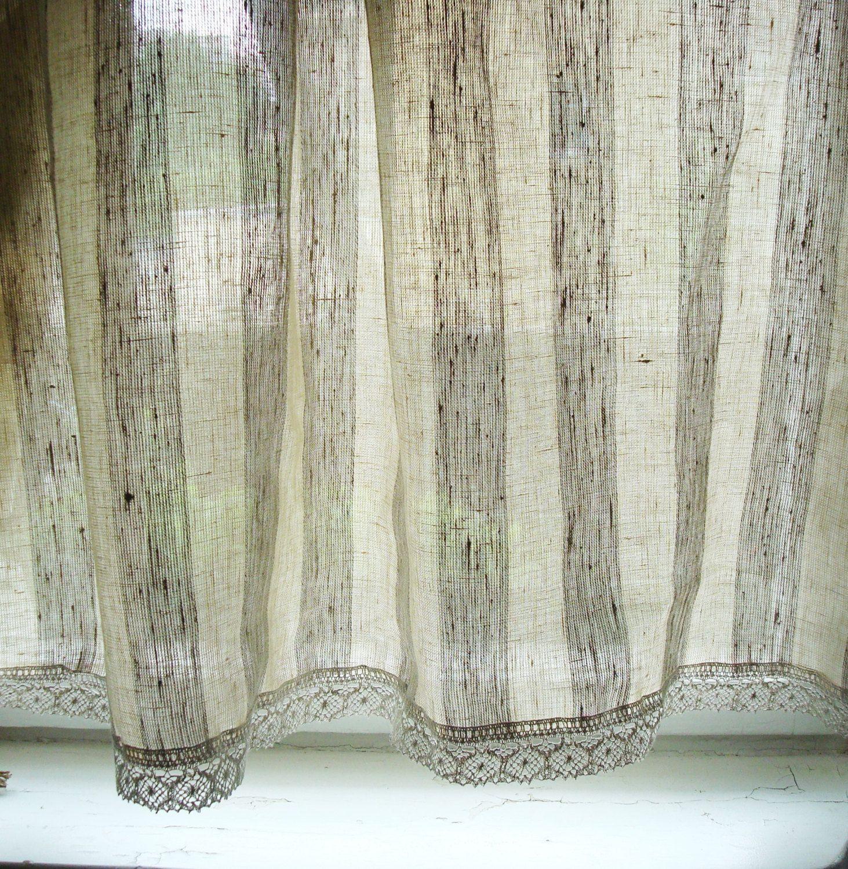 Striped Linen Curtain Kitchen Linen Panels Linen Cafe