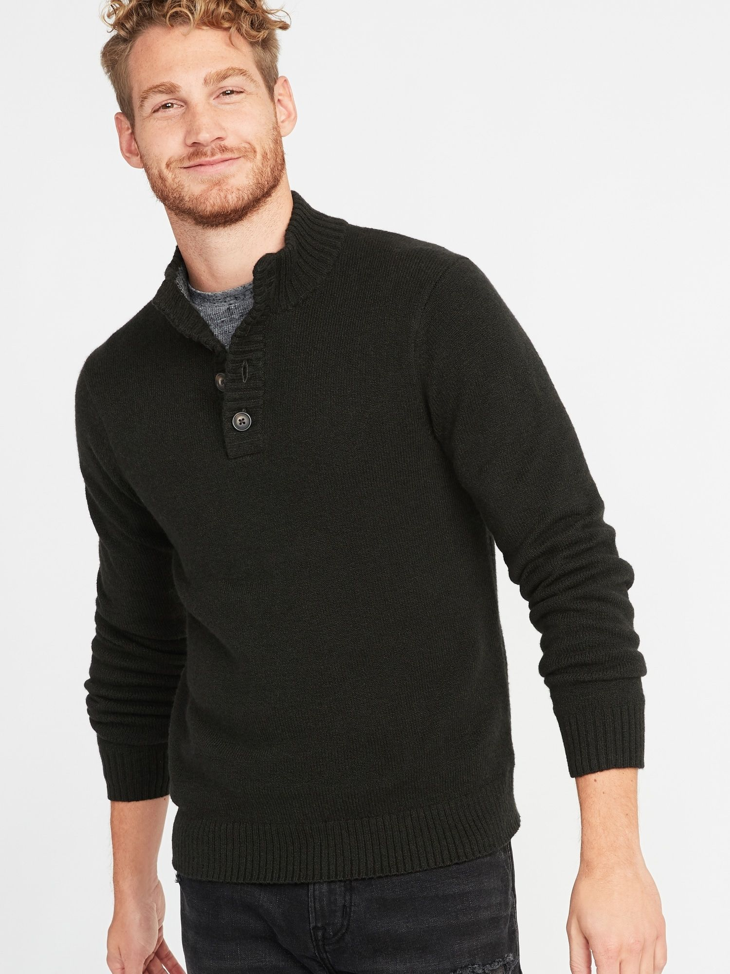 ca84ae449ad97 Button Mock-Neck Sweater for Men in 2019 | wishlist | Men sweater ...