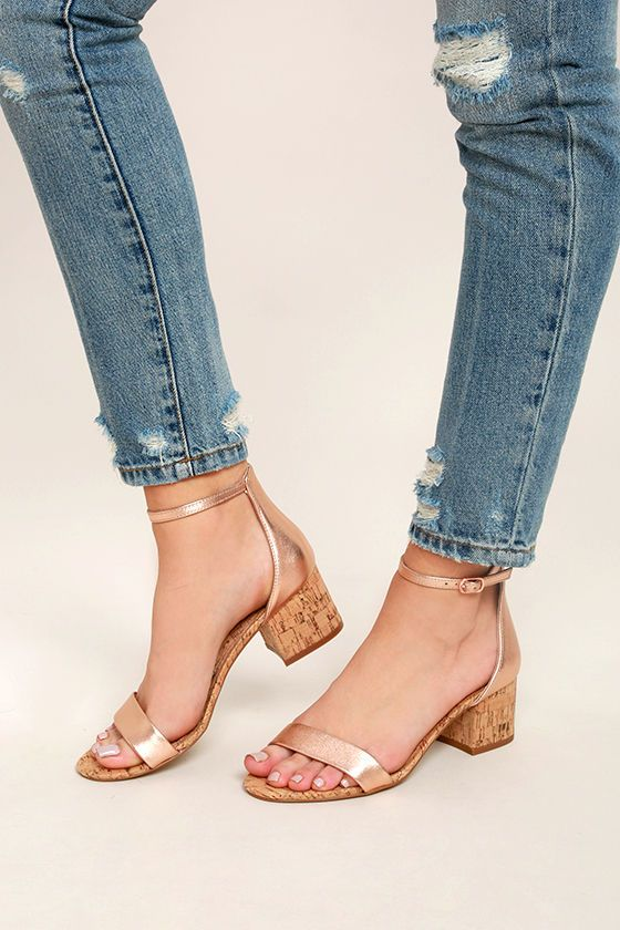 Classic and cool, the Steve Madden Irenee C Rose Gold Cork Ankle Strap  Heels will