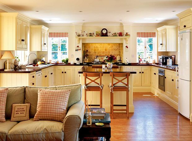 traditional country style kitchen with checked curtains Home