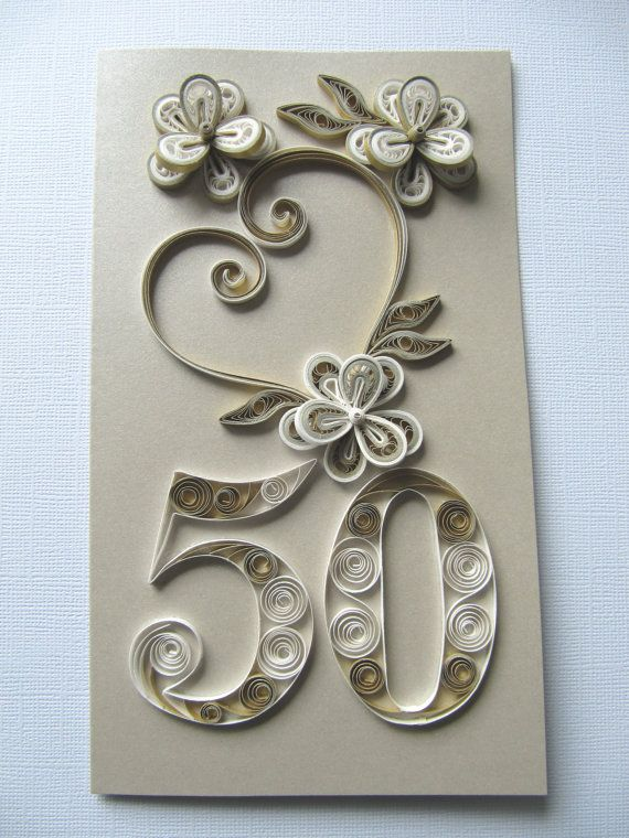 50th Birthday Greeting Card - Happy Birthday Card - Gold Anniversary Card - Paper Art Handmade Card