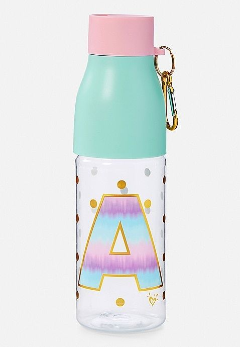 L D Justice Girls Ombre Initial Water Bottle C or P I N Letter A