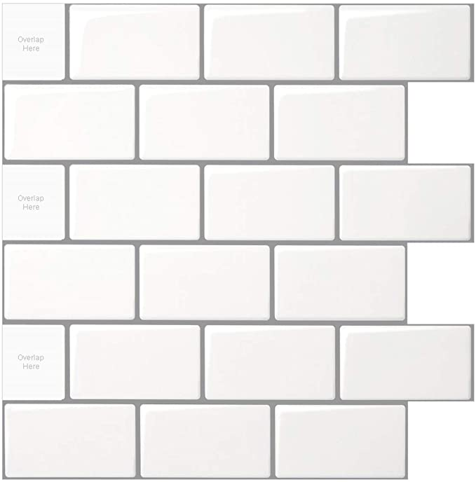 Amazonsmile 10 Sheet Peel And Stick Tile For Kitchen Backsplash 12x12 Inches White Subway Tile With In 2020 Stick On Tiles Peel And Stick Tile Stick Tile Backsplash