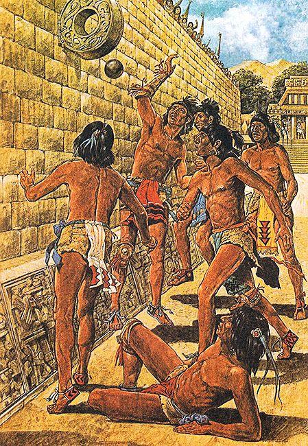 Los Jugadores De Tlachtli Sólo Podían Tocar La Pelota Con Las Rodillas Los Codos O La Cadera Veíanse Obligad Arte Indio Americano Arte Azteca Cultura Azteca