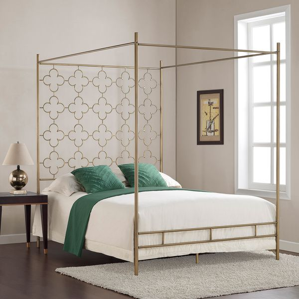 Retro Glitz Quatrefoil Queen Canopy Bed, Gold