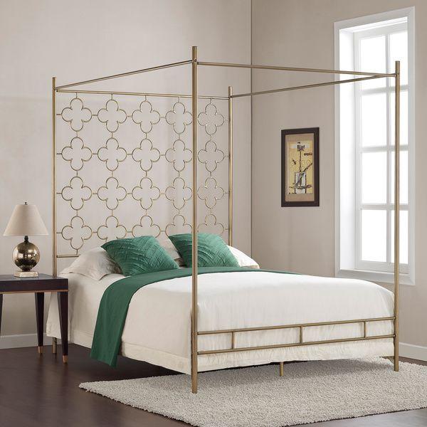 Retro Glitz Quatrefoil Queen Canopy Bed - Overstock™ Shopping - Great Deals on Beds & Retro Glitz Quatrefoil Queen Canopy Bed Gold | Queen canopy bed ...