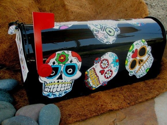 Gardening Ideas | Painted mailboxes, Painted mailbox ...  Funky Painted Mailboxes