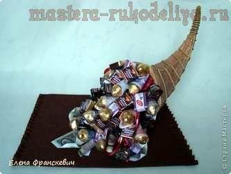 Рог изобилия из конфет своими руками