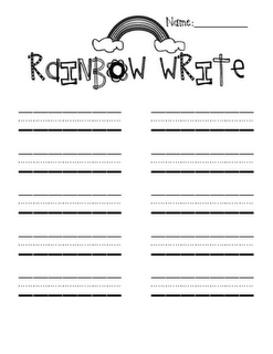 So cute rainbow write paper to practice spelling words for Rainbow writing spelling words template