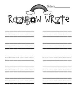 So cute! Rainbow Write paper to practice Spelling words