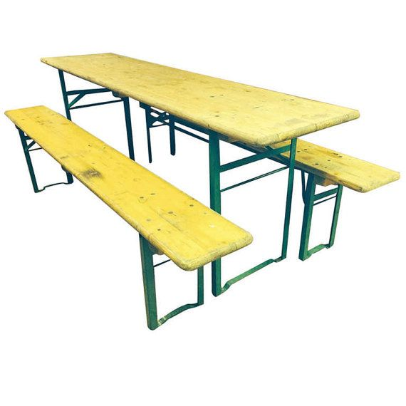 Captivating 1940s Authentic Vintage German Beer Garden Table And Bench Set; Folding;  Qty Available On