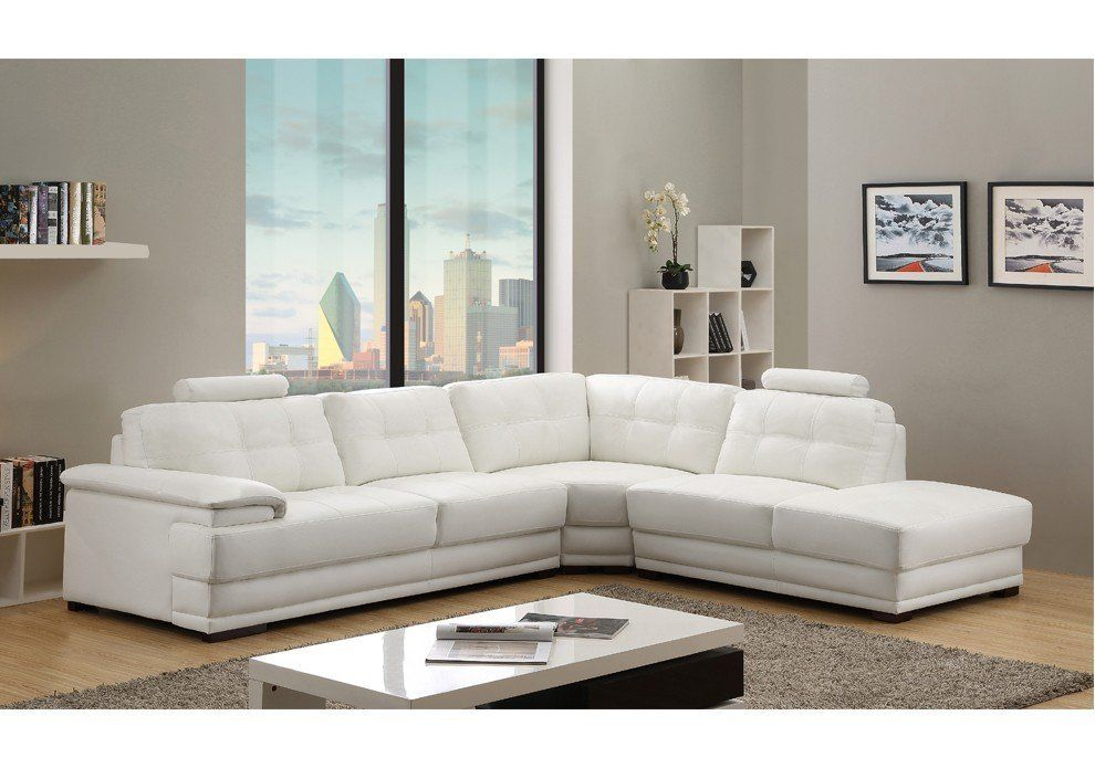 Veron White Leather Corner Sofa Right