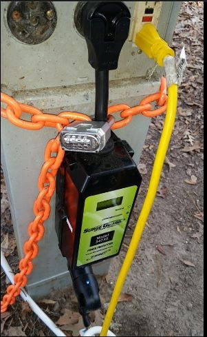 Good Solution To Secure A Non Hard Wired Surge Protector Only Need A Chain And A Good Padlock Rv Surge Protector Hiker Trailer Travel Trailer Hacks