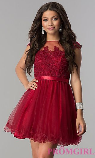 9bb71435c0 Lace-Applique-Bodice Short Homecoming Dress in 2019