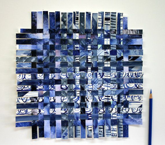 Indigo Blue Watercolor Paper Weaving By Lauraprillabstract Paper