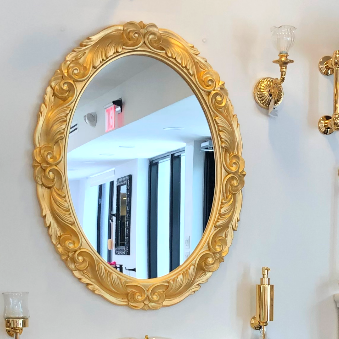 Gold Oval Mirror If You Re Shopping For Larger Bathroom Accessories Consider The Bold Addition Of An Eye Catching Mirror Wall Mounted Mirror Large Bathrooms [ 1080 x 1080 Pixel ]