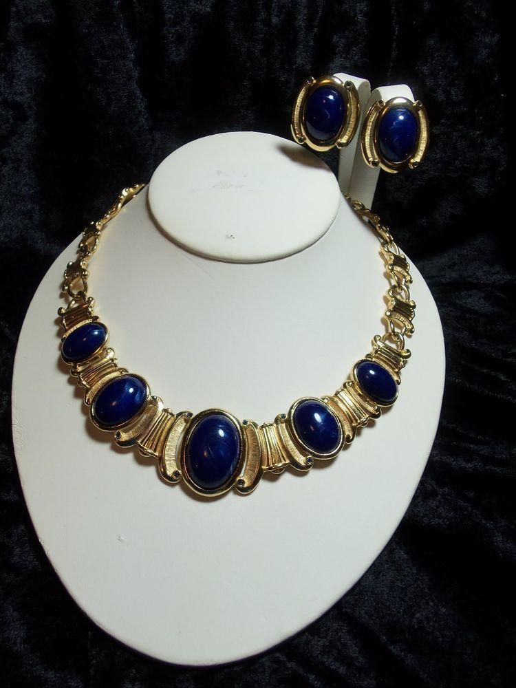 Detailed Gold Tone Blue Rhinestone & Blue Cabochon Necklace & Earrings Trifari #Trifari