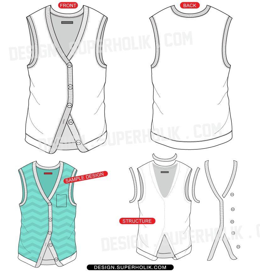vest template vector fashion vector templates pinterest