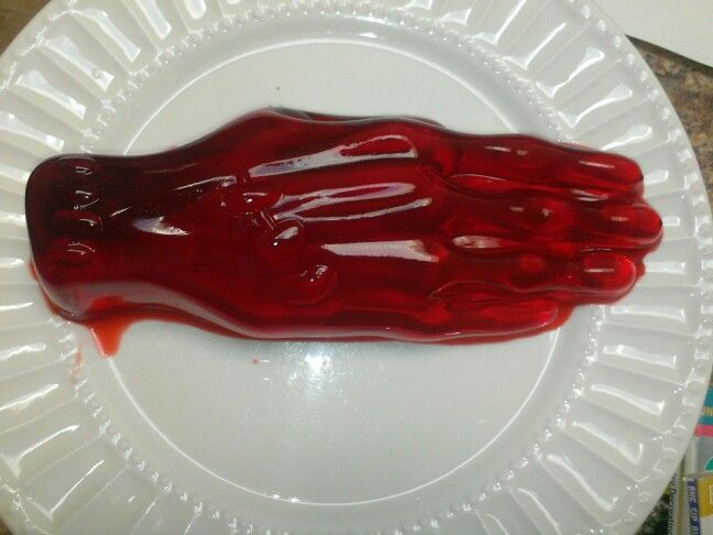 """""""Bloody"""" hand jello mold party snack 2014"""