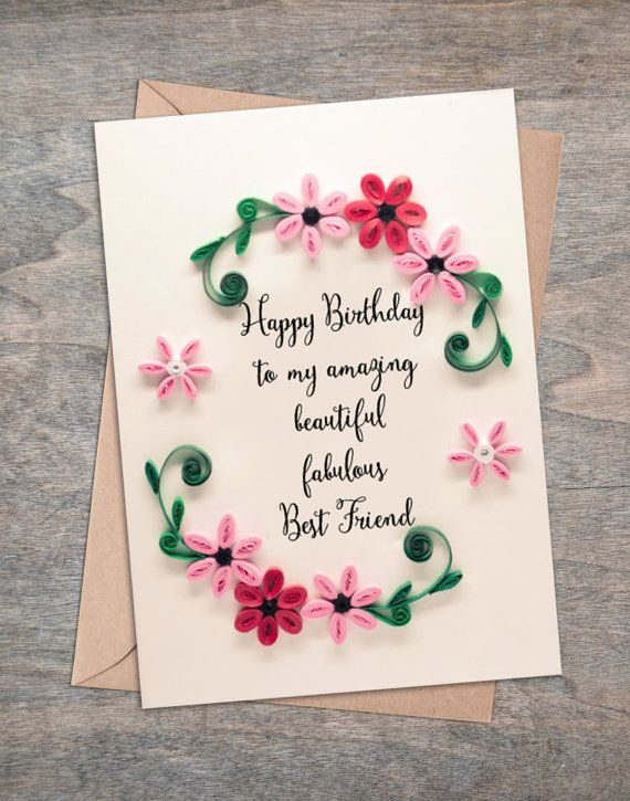 Best friend birthday card floral greetings pink and red paper best friend birthday card floral greetings pink and red paper flowers present to celebrate long distance friendship quilling pinterest birthday m4hsunfo