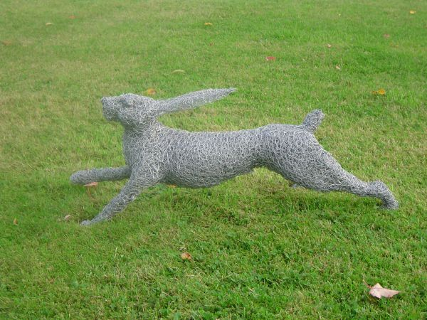 Metal Garden Or Yard / Outside and Outdoor sculpture by sculptor Lucia Corrigan titled: 'Running Hare (Metal Chicken Wire Netting Mesh Outdoor garden statues)' - Artwork View 2