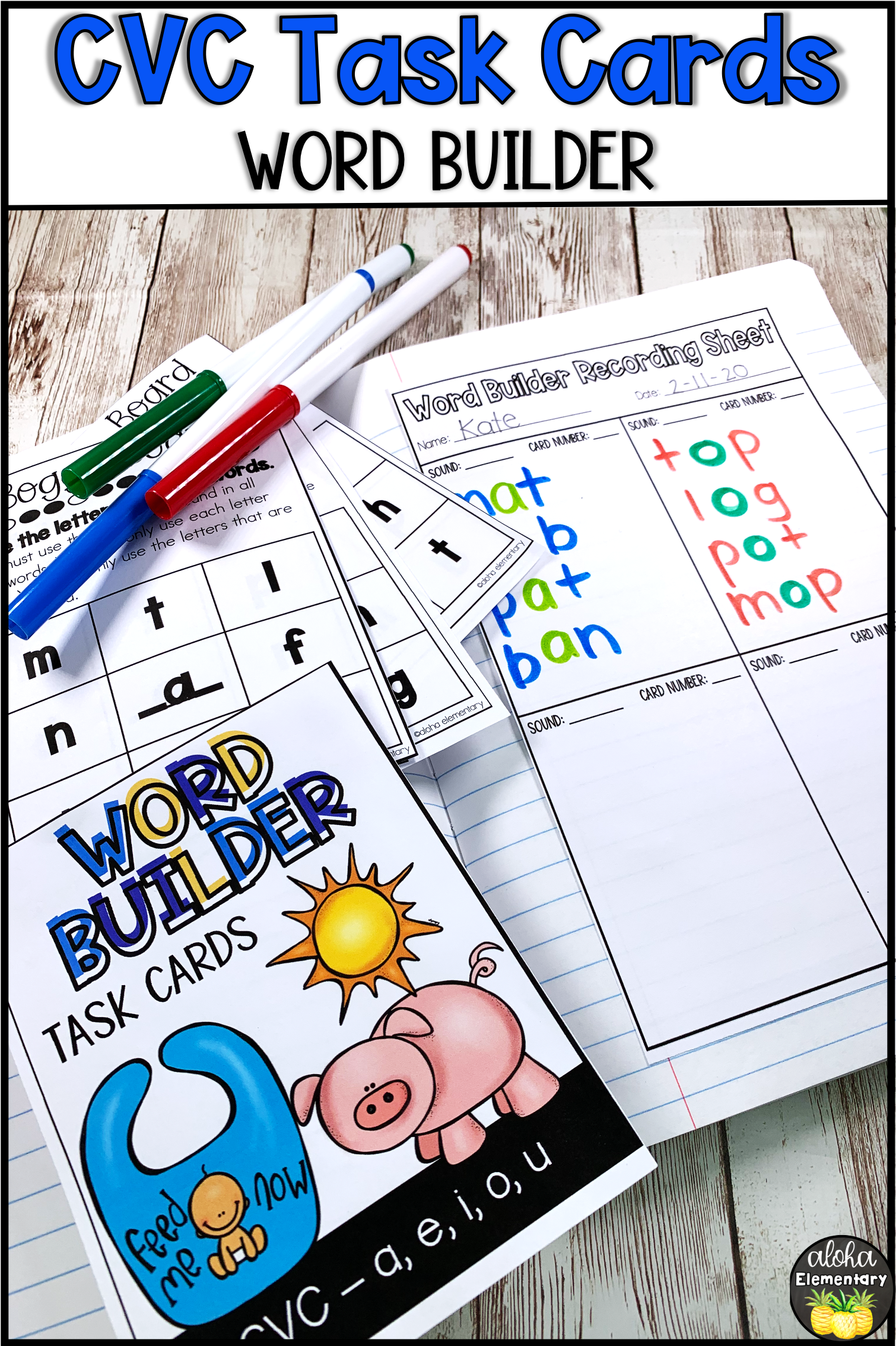 Cvc Word Building Task Cards In