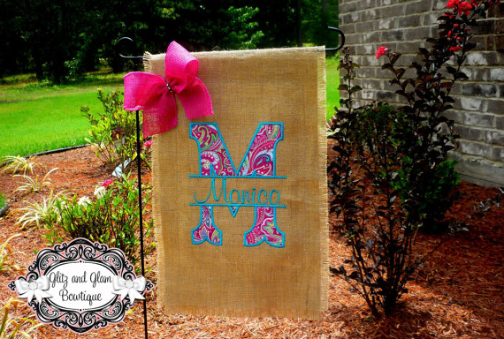 Awesome Monogrammed Burlap Applique Garden Flag