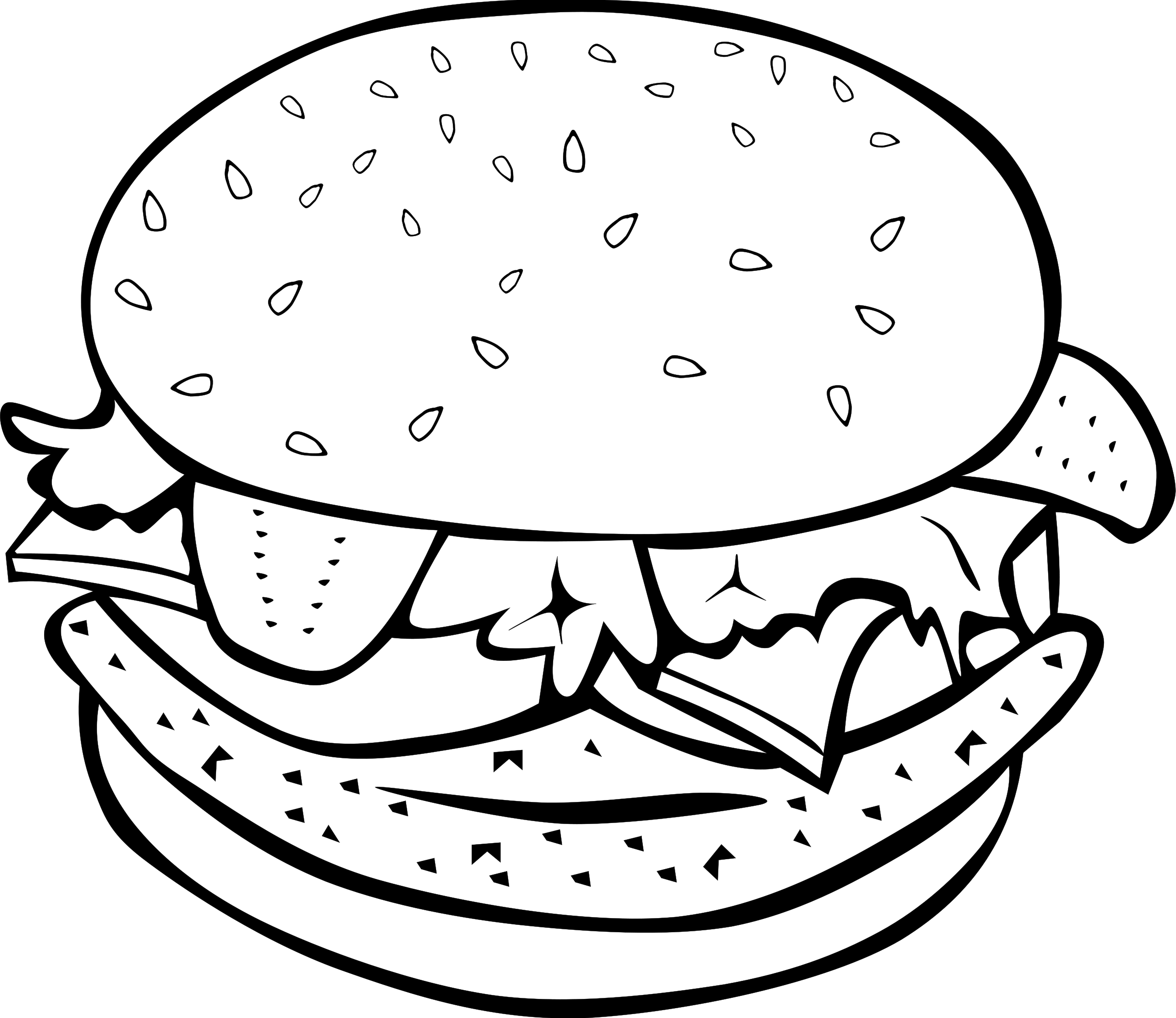 Pobarvanka hamburger | Food coloring pages, Food coloring ...
