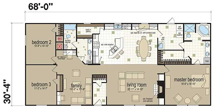 My 2000 Sf Double Wide Standard Kitchen With Optional Island 3 Bed Option With Fami Mobile Home Floor Plans Manufactured Homes Floor Plans Modular Home Plans