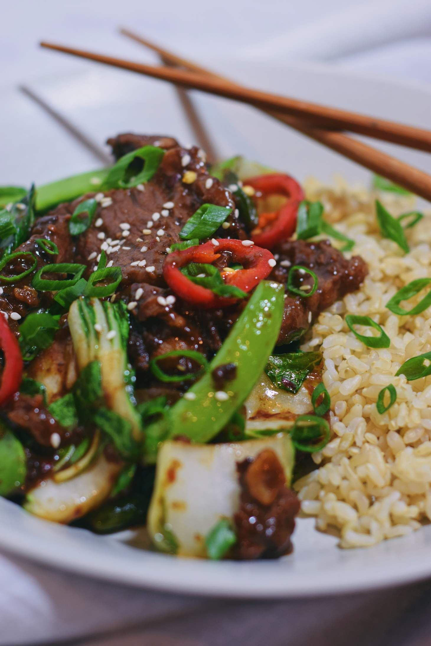 Asian Beef Stir Fry With Bok Choy The Migoni Kitchen Recipe Asian Beef Stir Fry Beef Stir Fry Garlic Beef