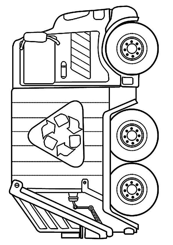 print coloring image Dump trucks