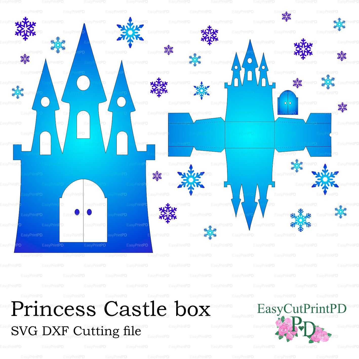 SVG DXF PNG Princess Frozen Castle box template baby girl party ...