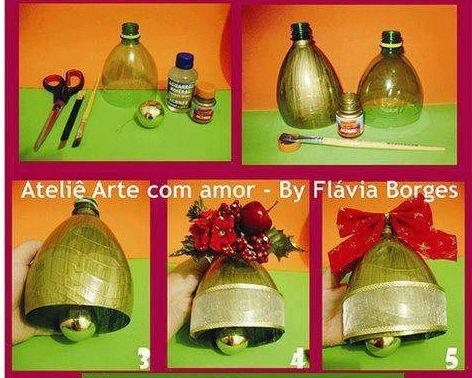 Botellas recicladas transformadas en adornos navide os for Adornos navidenos material reciclado