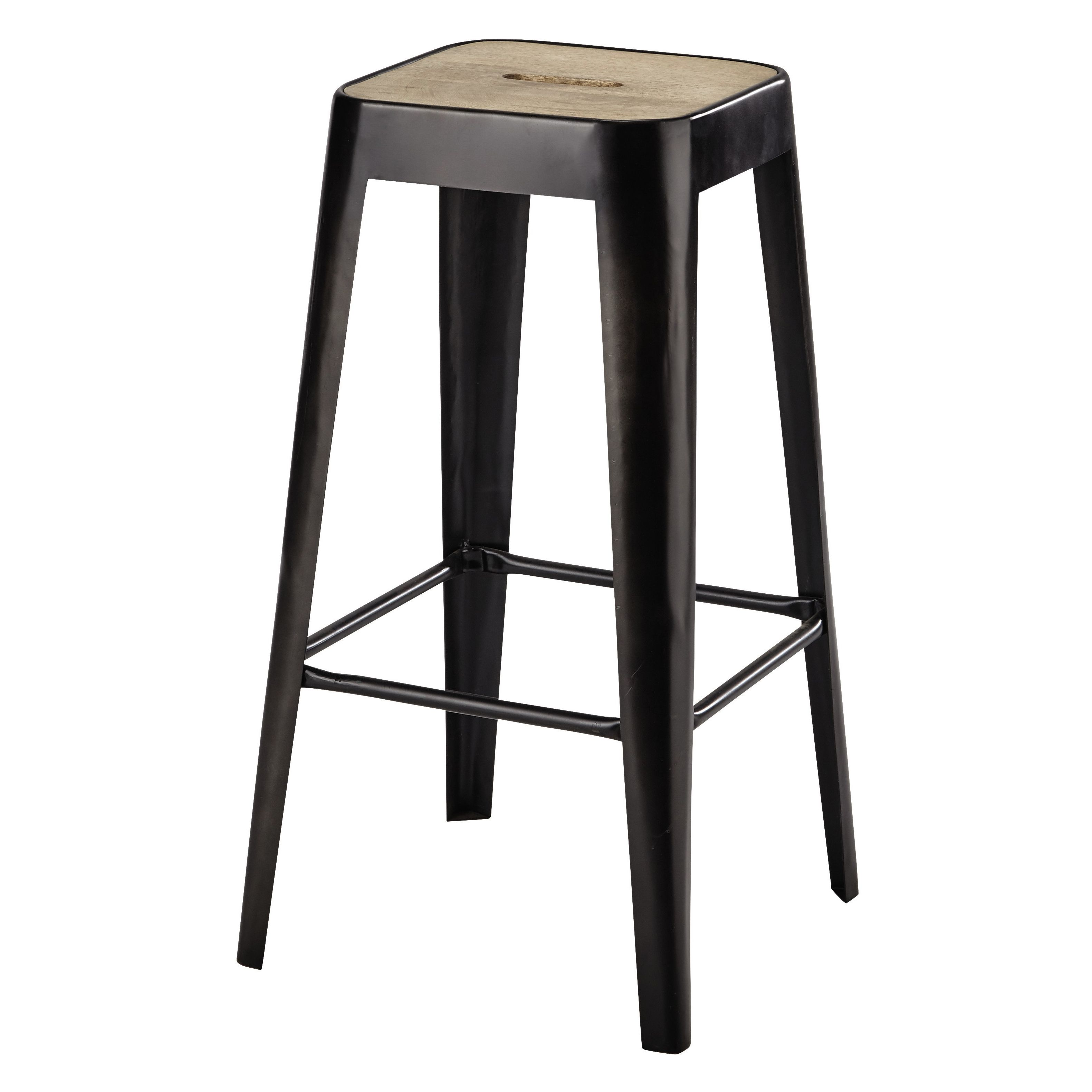 tabouret de bar en manguier et m tal manufacture maisons du monde maison du monde ambiances. Black Bedroom Furniture Sets. Home Design Ideas