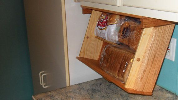 Under Cabinet Mounted Bread Box Drawer Drops Down For