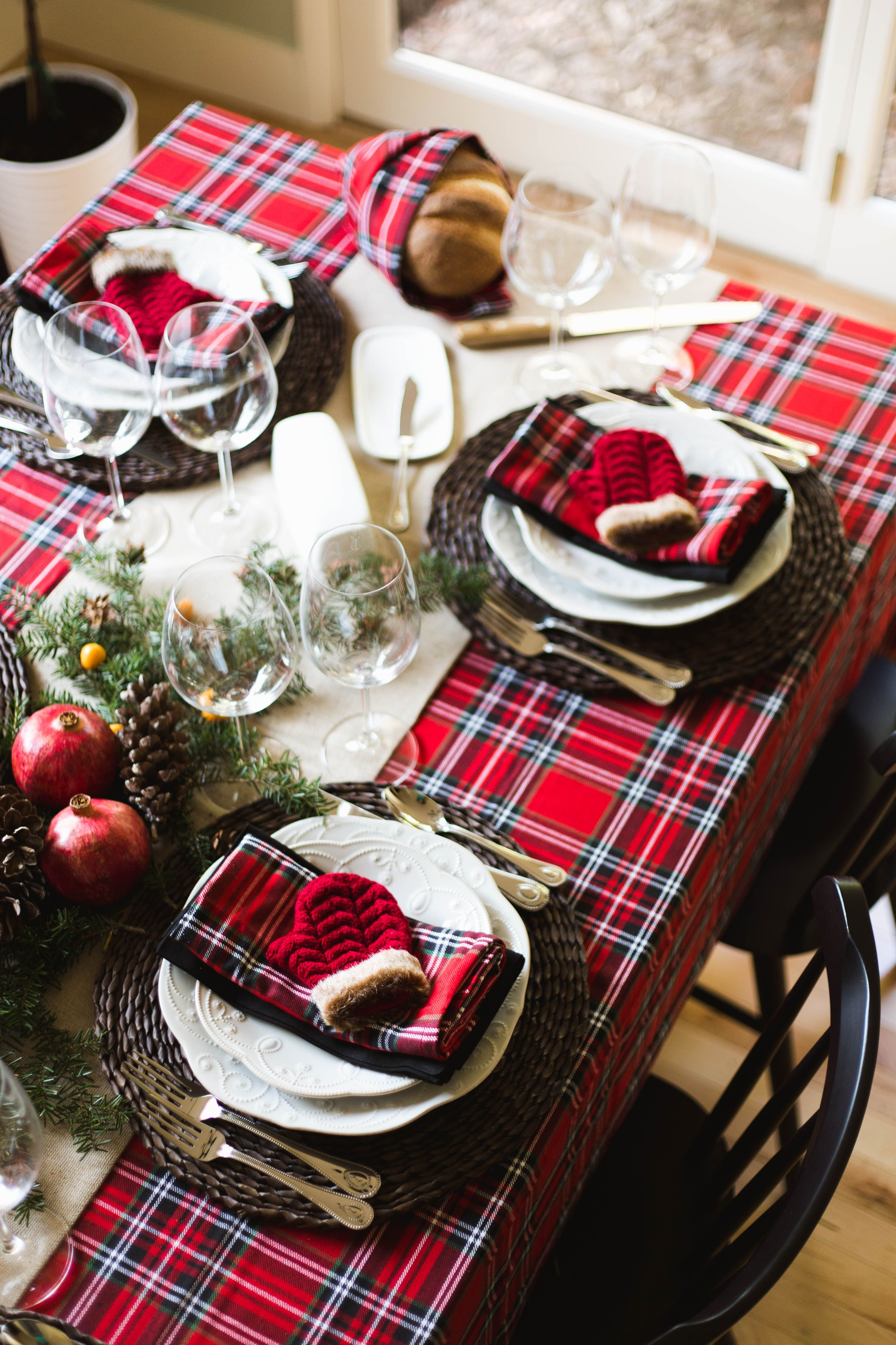 """Christmas table inspiration: Add a festive touch to your tablescape with the Warm & Cozy Christmas Table Collection. """"Choose from festive tablecloths, napkins, place settings, serveware and more, all coordinated in matching style."""