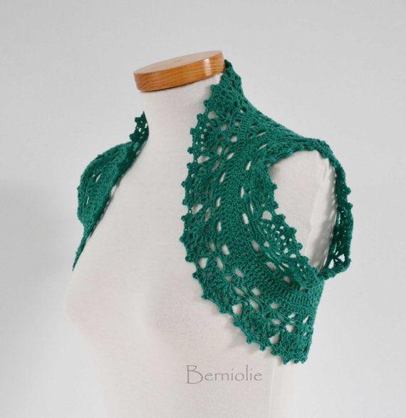 Encogimiento de hombros de ganchillo, el bolero, el encaje, verde ...