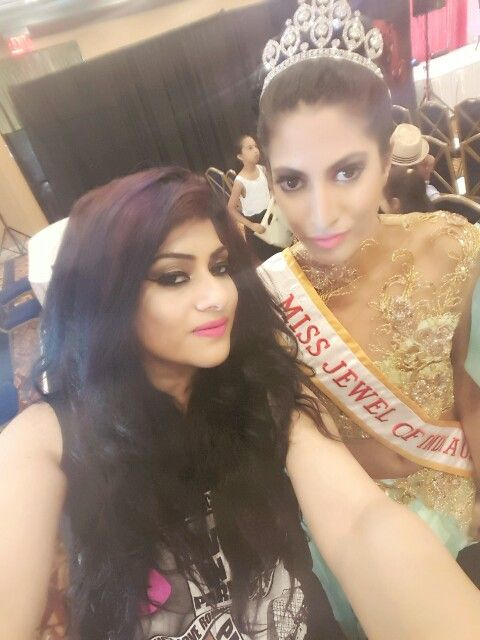 Selfie with my model Bagel Grandy miss jewels of India Makeover by Me www . shikhathemakeupartist.com