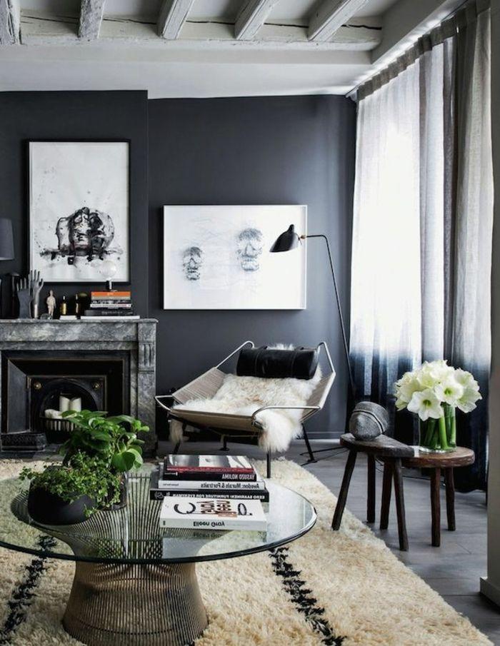 Un-Salon-De-Luxe-Avec-Peinture-Murale-Gris-Peinture-Satiné-Dans-Le