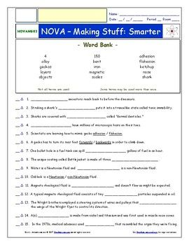 Differentiated Video Worksheet Quiz Ans Pbs Nova Making Stuff Smarter Pbs Nova Chemistry Worksheets Physics Lessons