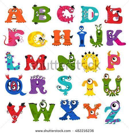 Funny vector monster alphabet for kids Monster letter character - letter of character
