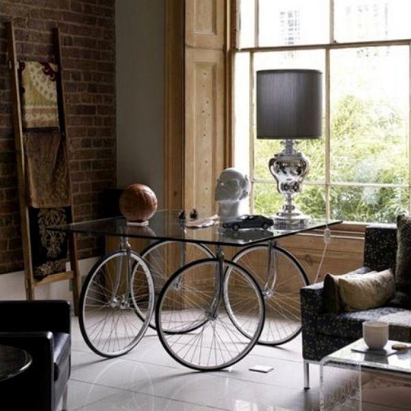 bastelideen fahrradteile schreibtich glasplatte aus. Black Bedroom Furniture Sets. Home Design Ideas