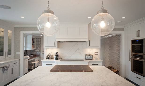 Fabulous kitchen with arteriors reeves pendant in polished nickel fabulous kitchen with arteriors reeves pendant in polished nickel over white marble top kitchen island with aloadofball Gallery