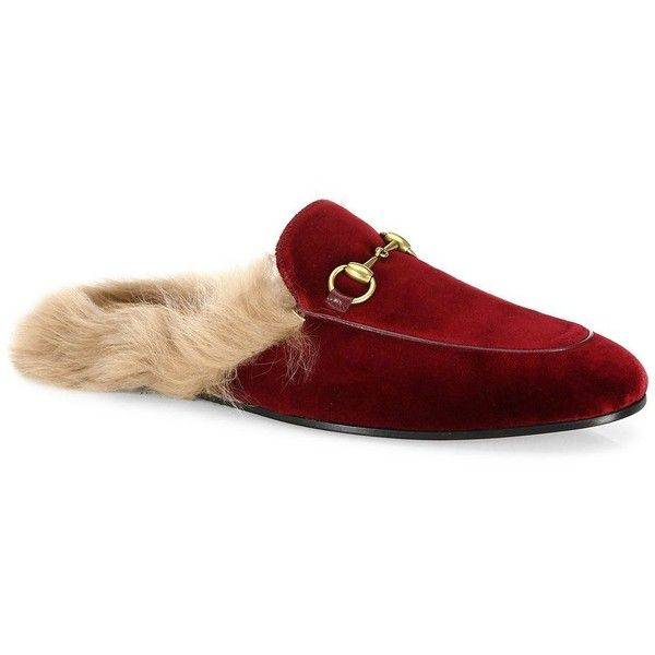 a6034d9d945b Gucci Princetown Fur & Velvet Slippers ($850) ❤ liked on Polyvore  featuring men's