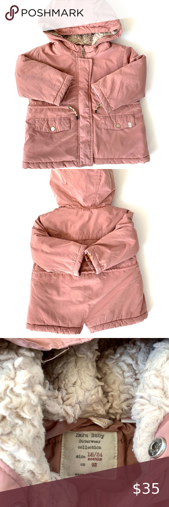 Zara Baby Girl Blush Hooded Coat in 2020   Zara baby ...